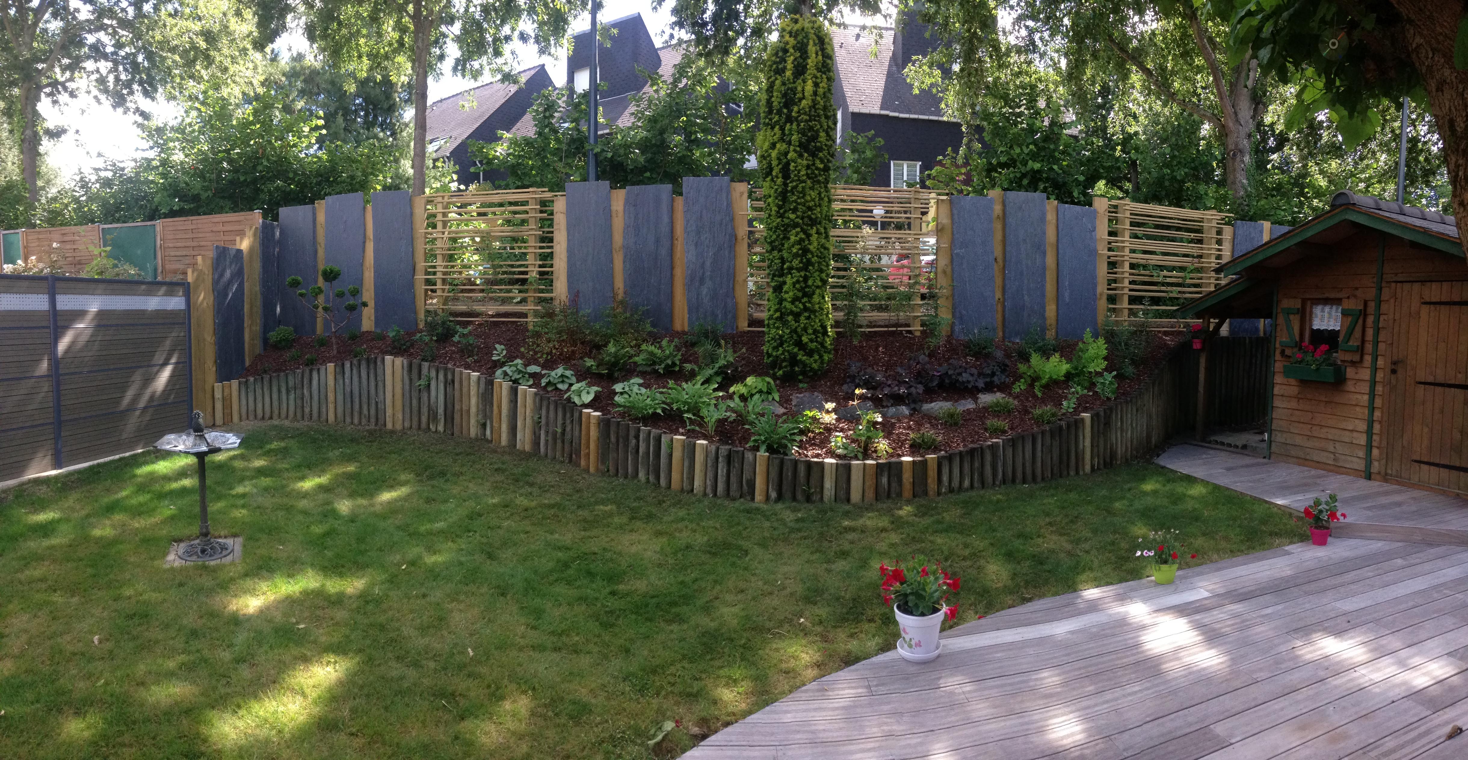 R novation de jardin palis de schiste et bois rennes for Le jardin vivant